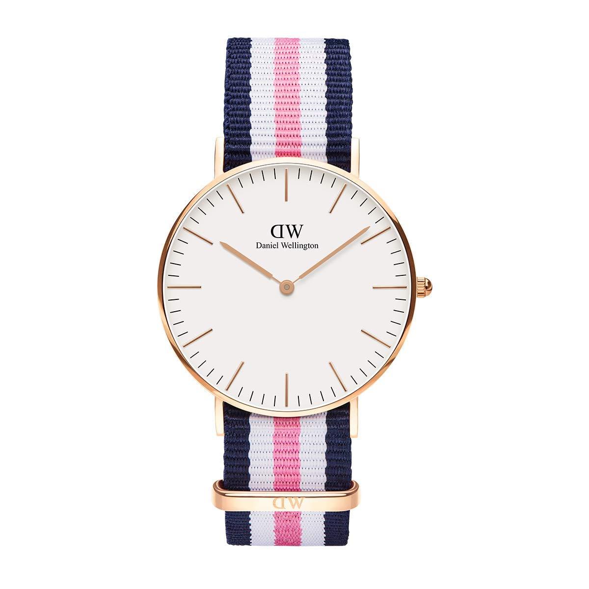 Daniel Wellington Trenduhren  Classic Southampton, Blau-rosa-weiß/Roségold Uhr, 36mm, NATO, für Damen und Herren