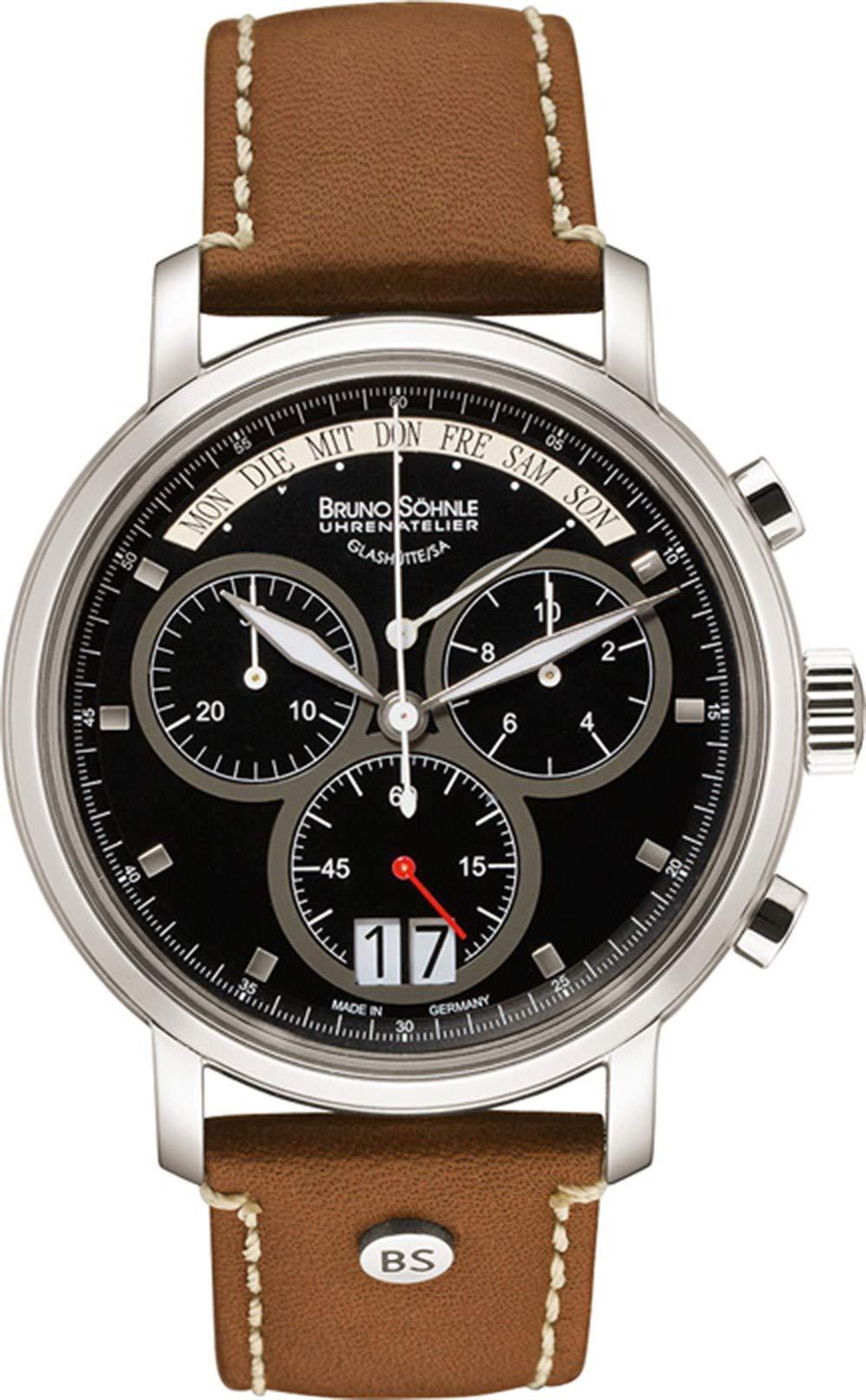 Herren Chronograph Quarz Uhr mit Leder Armband 17-13143-841