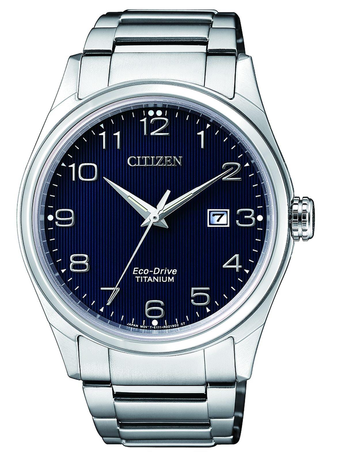 Herren Datum klassisch Solar Uhr mit Titan Armband BM7360-82M