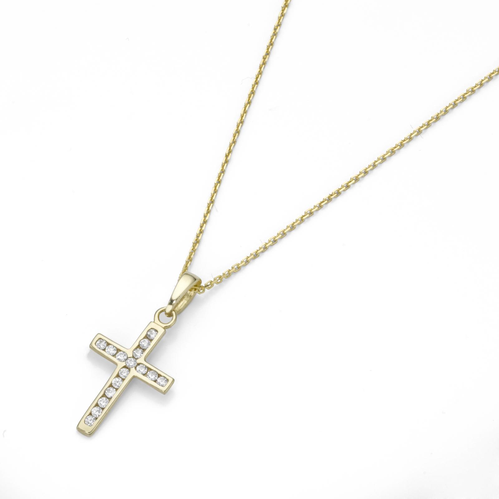 Anhänger Kreuz mit Zirkonia in Gold 375