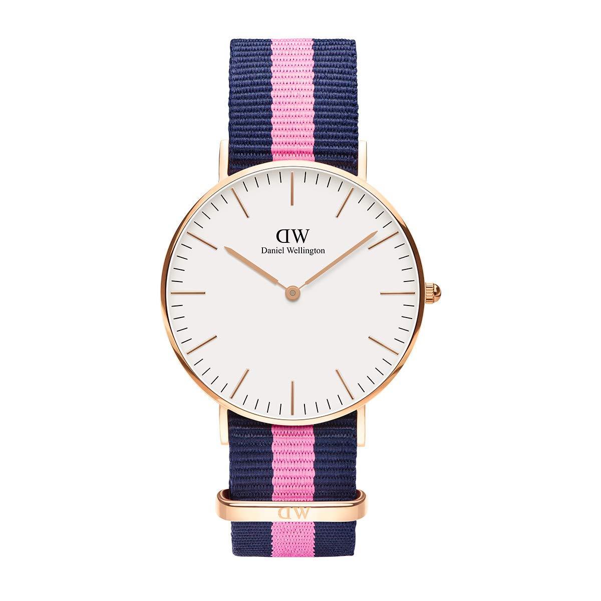 Classic Winchester, Blau-rosa/Roségold Uhr, 36mm, NATO, für Damen und Herren