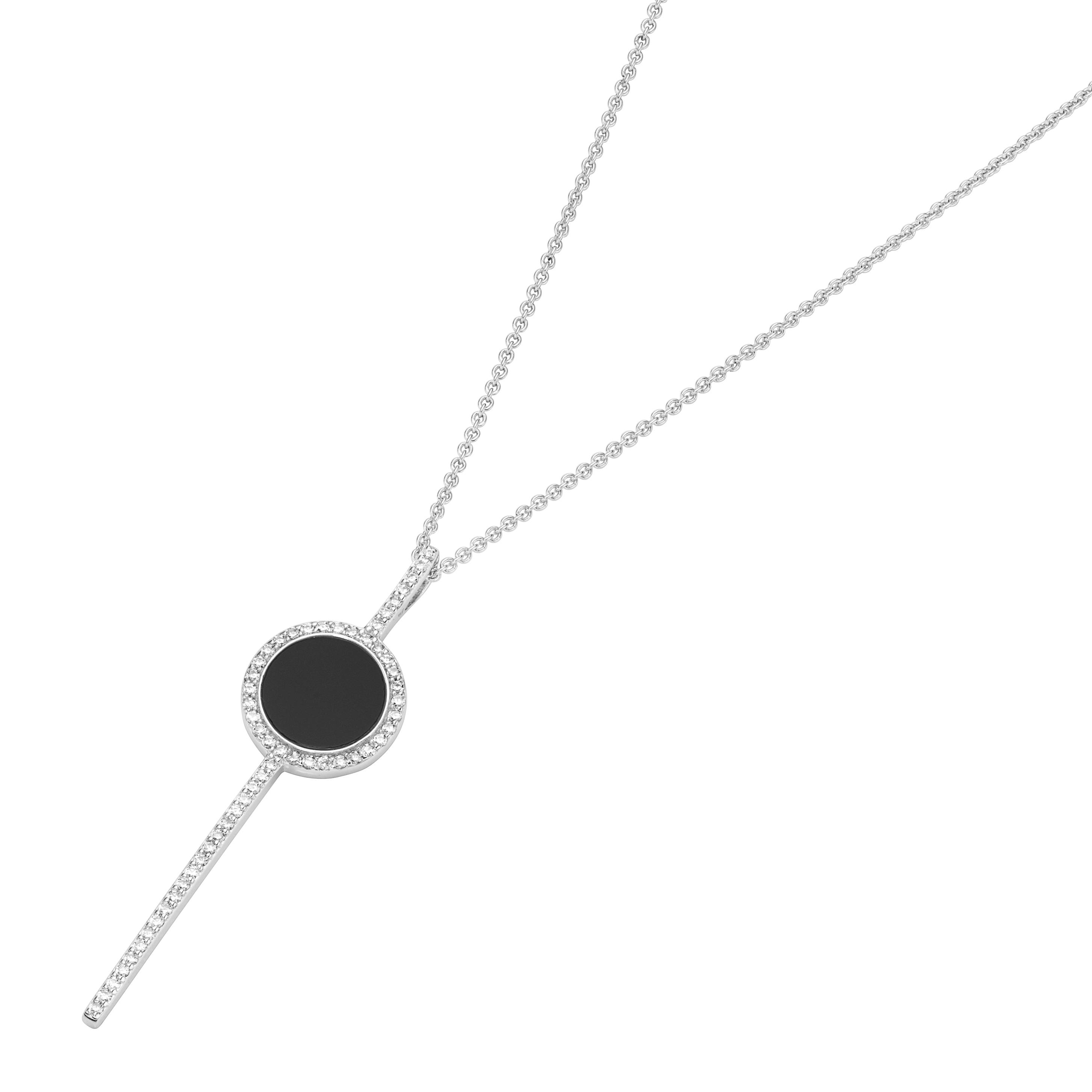 Anhänger mit schwarzem Achat und Zirkonia, Silber 925