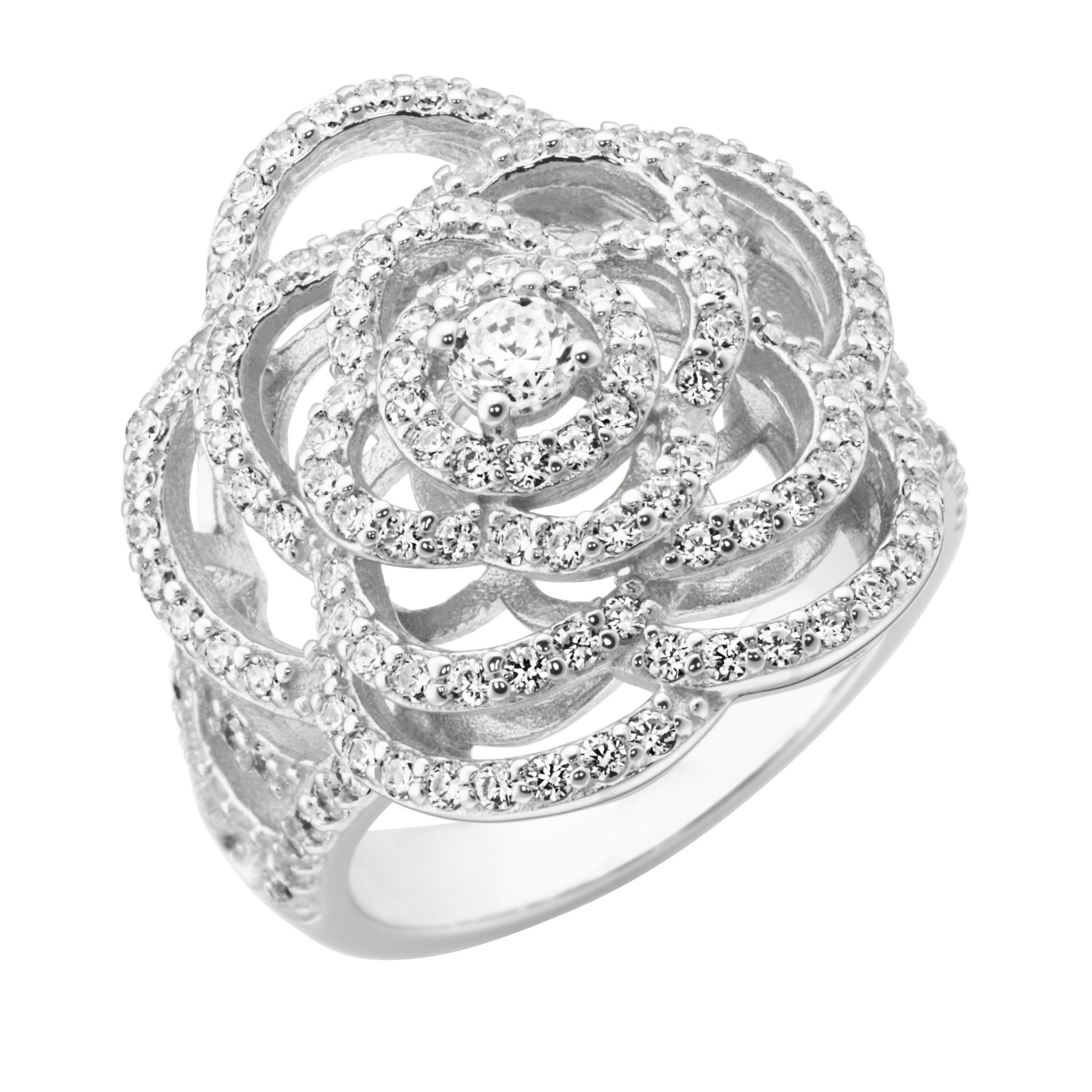 Blüte mit weißen Zirkonia, Silber 925