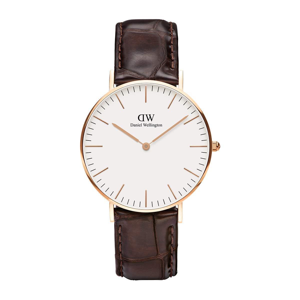 Classic York, Dunkelbraun/Roségold Uhr, 36mm, Leder, für Damen und Herren