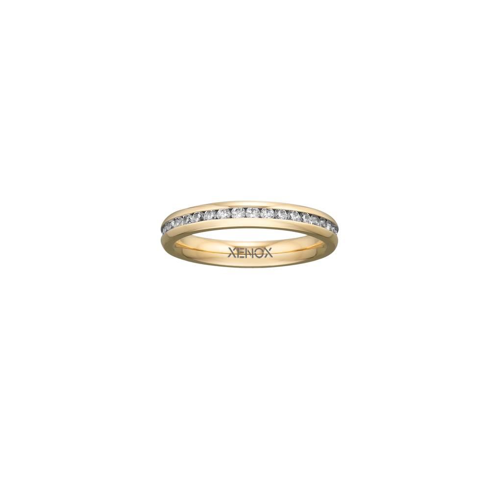Damen-Ring, Weite: 52 mit Zirkonia, Stahl, XENOX & friends X2303