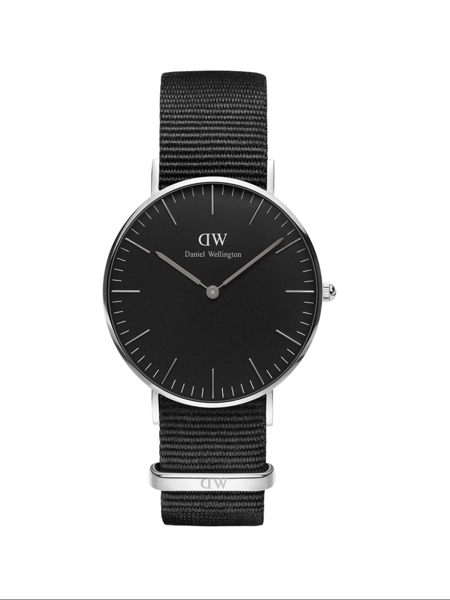 Classic Cornwall, Schwarz/Silber Uhr, 36mm, NATO, für Damen und Herren