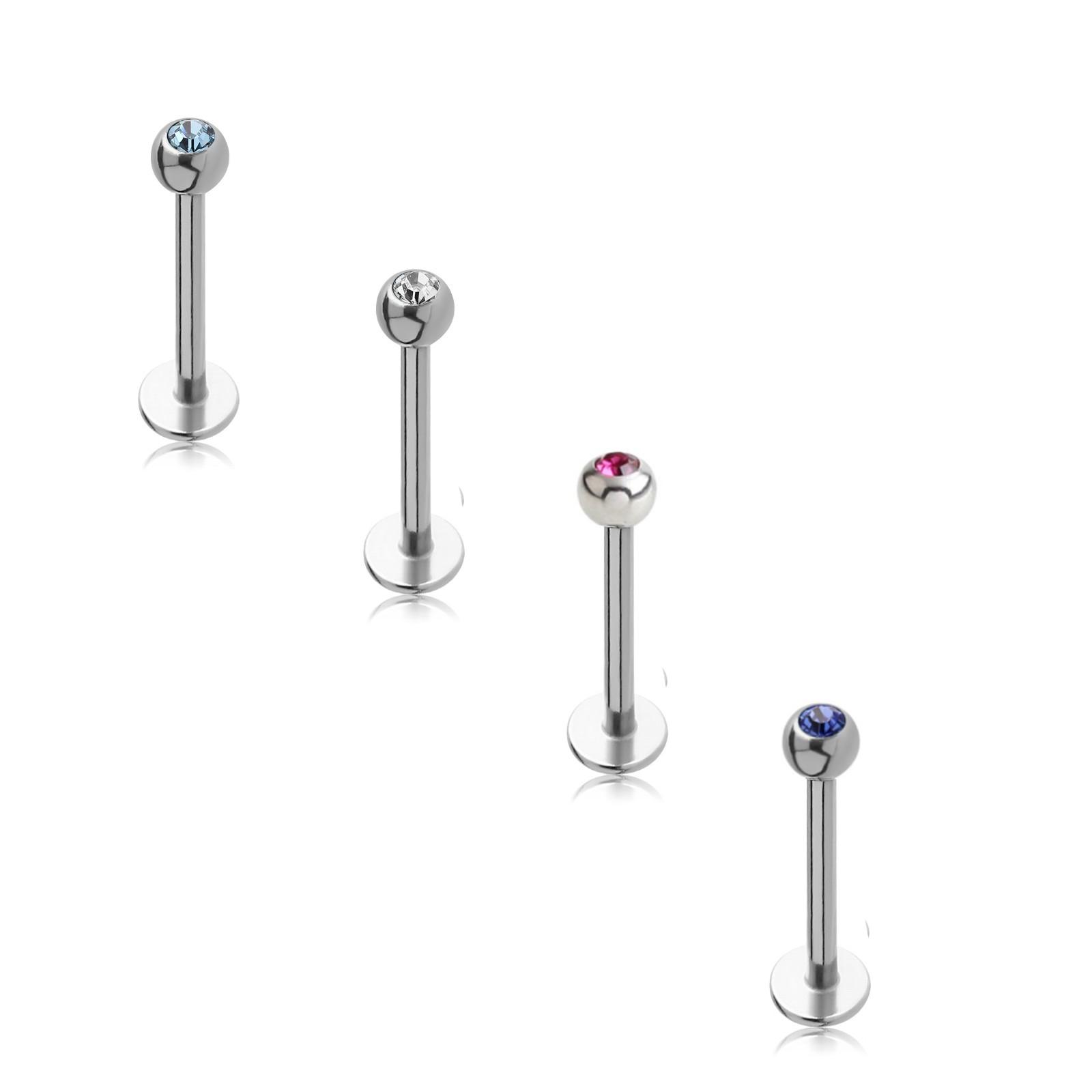 Labret, 4-teilig, Swarovski- Kristallsteine, Chirurgenstahl 316L