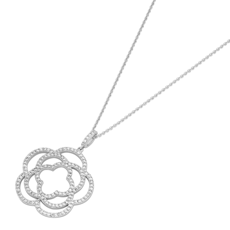 Anhänger Blüte mit weißen Zirkonia, Silber 925