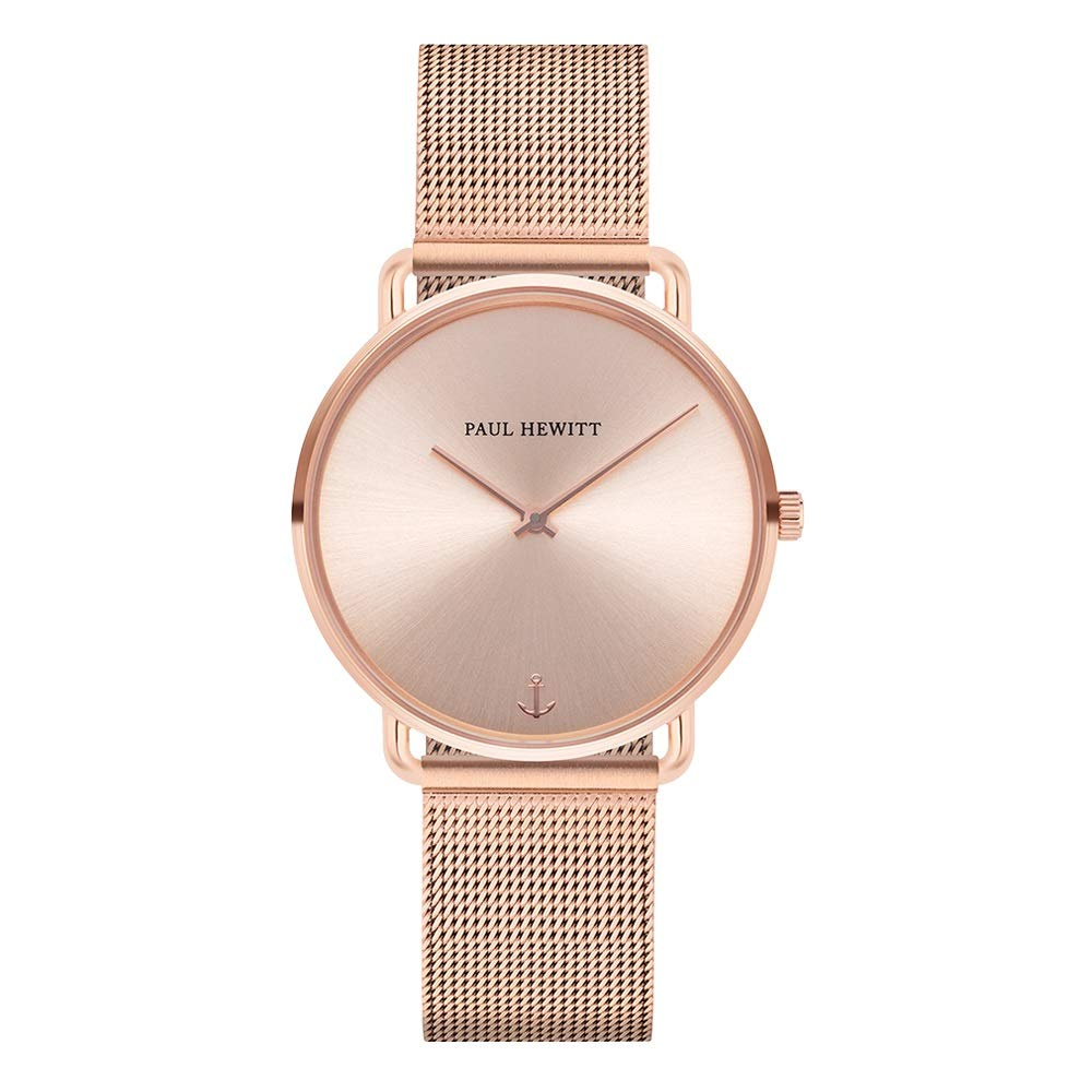 Armbanduhr Damen Miss Ocean Rose Sunray - Damen Uhr (Rosegold), Damenuhr Edelstahlarmband in Rosegold, rosa Ziffernblatt