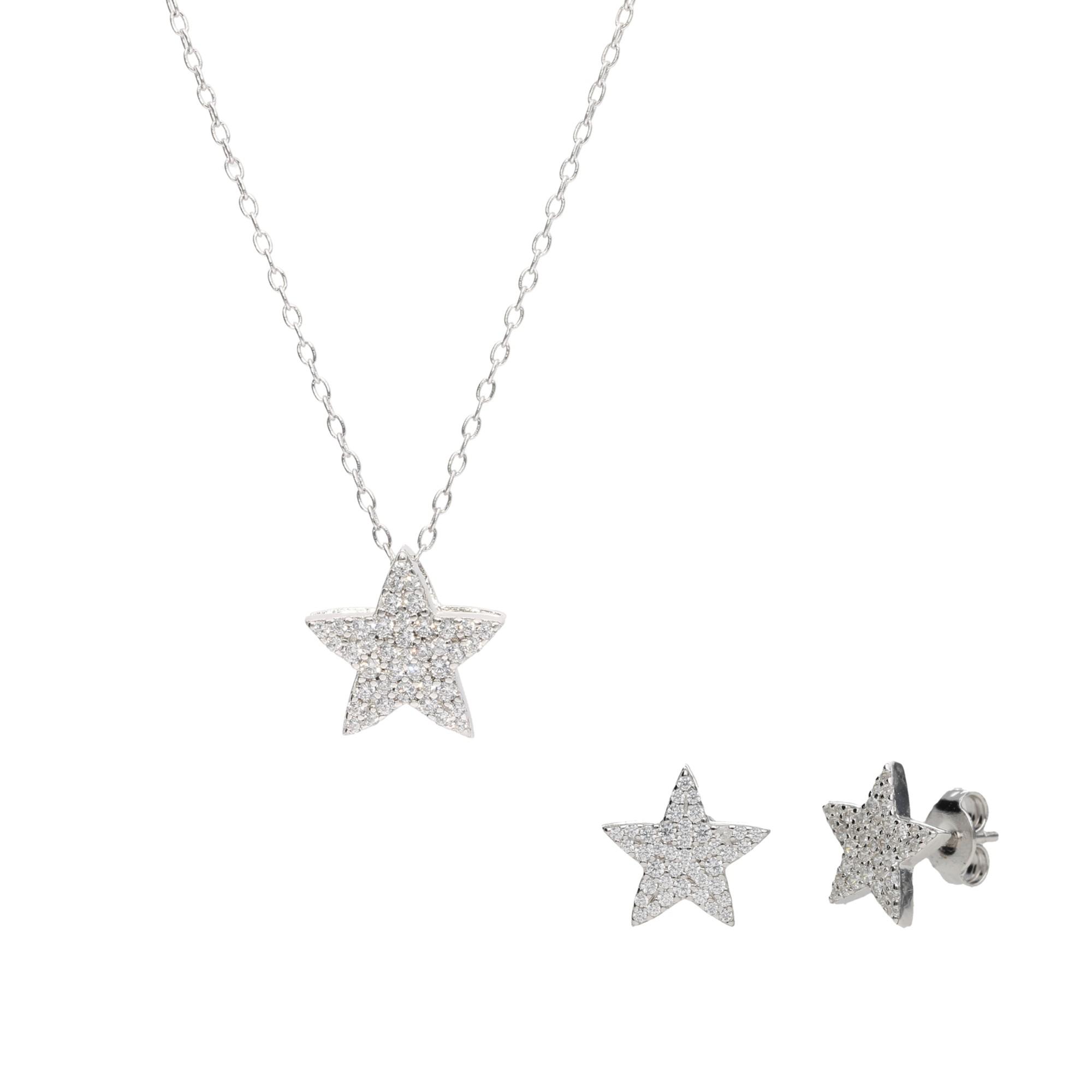 Ohrstecker und Kette in Sternform, Silber 925