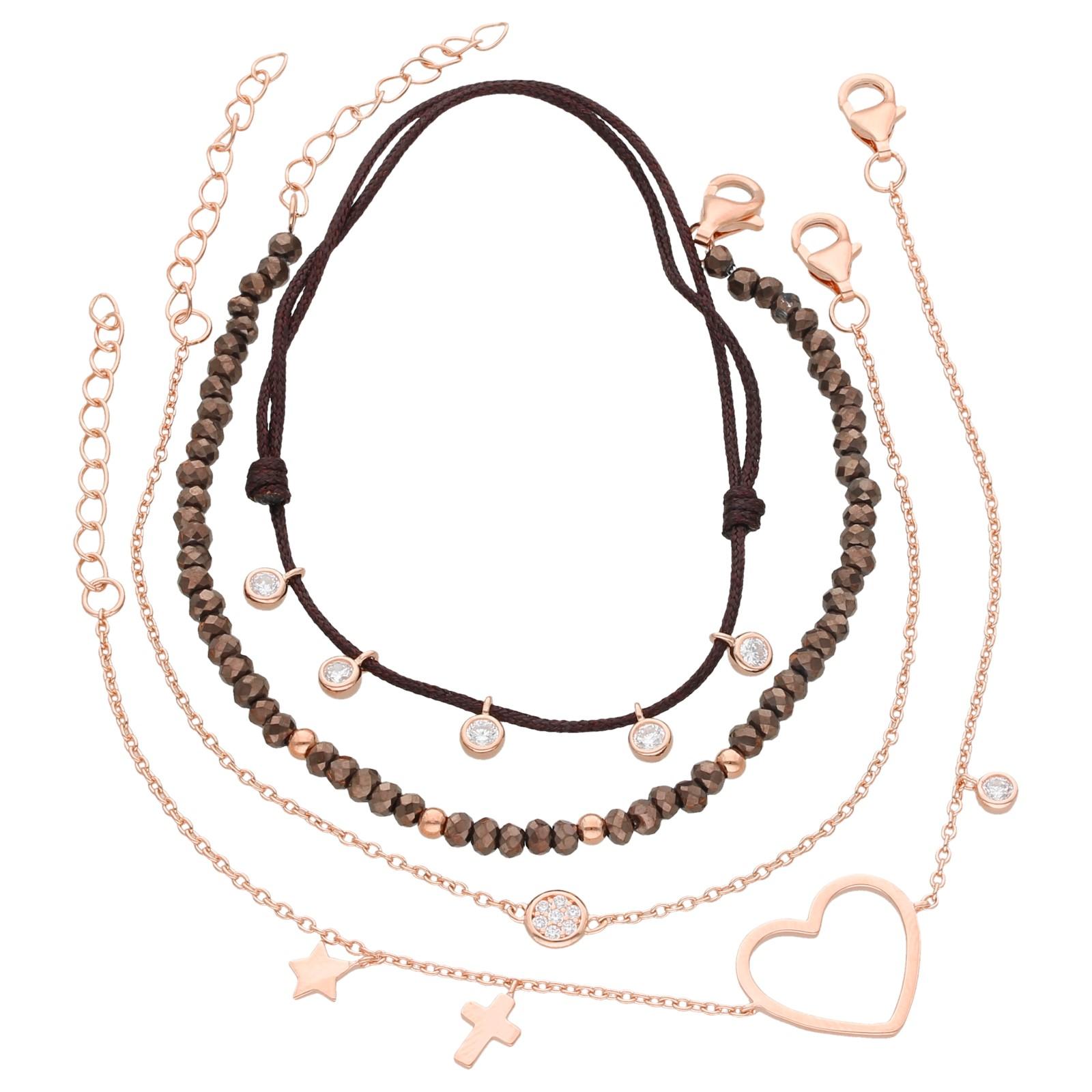 Armbänder 4-teilig, Kristallsteine und Zirkonia, Silber 925