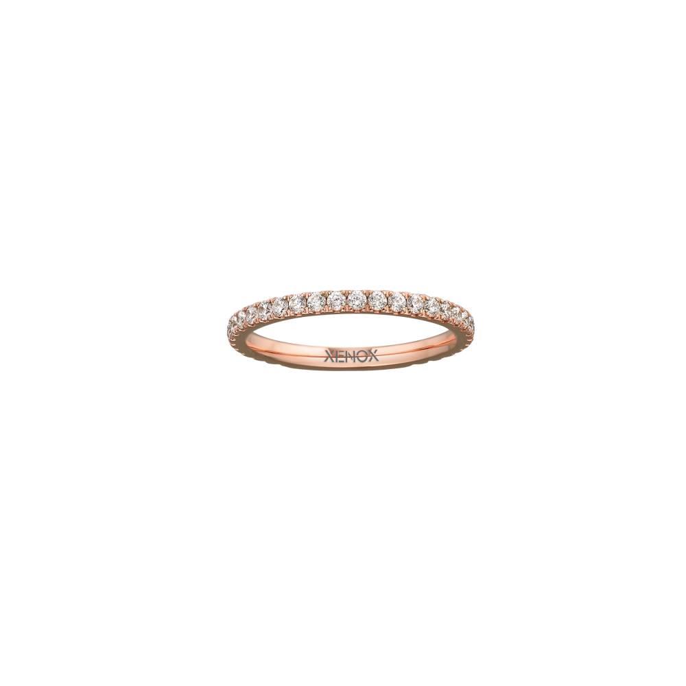 Damen-Ring, Weite: 58 mit Zirkonia, Stahl, XENOX & friends X2300