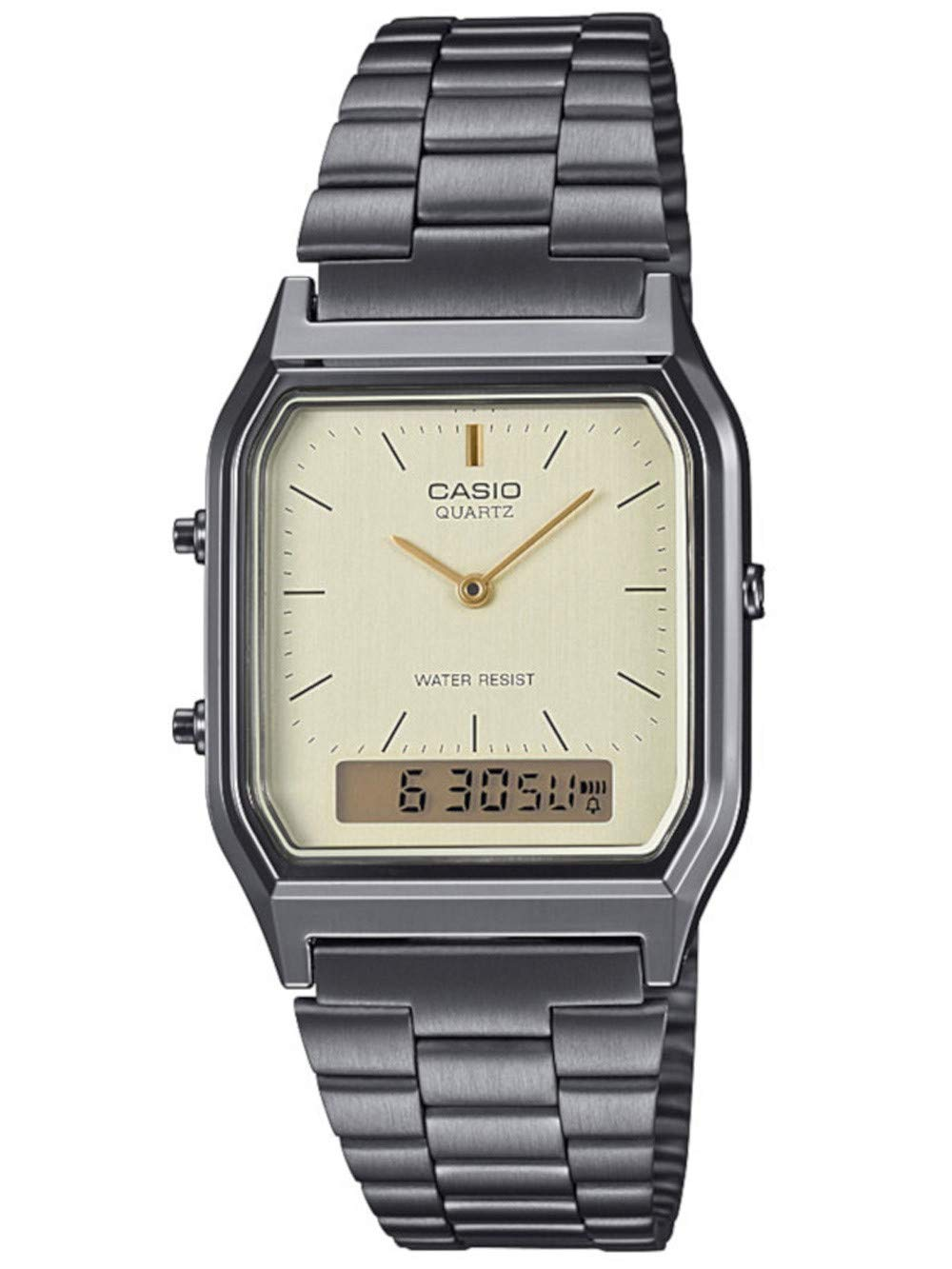 Unisex Erwachsene Analog – Digital Quarz Uhr mit Edelstahl Armband AQ-230EGG-9AEF