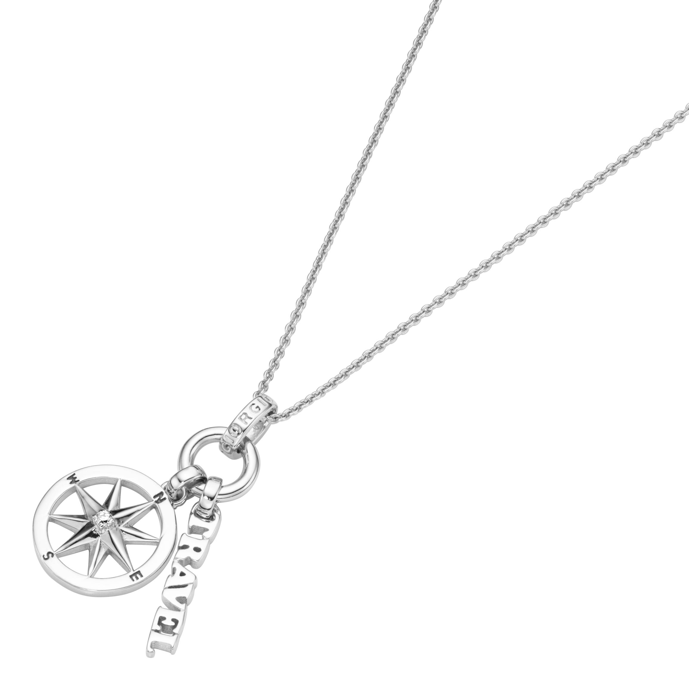 Anhänger Kompass mit Zirkonia + Travel Schriftzug, Silber 925