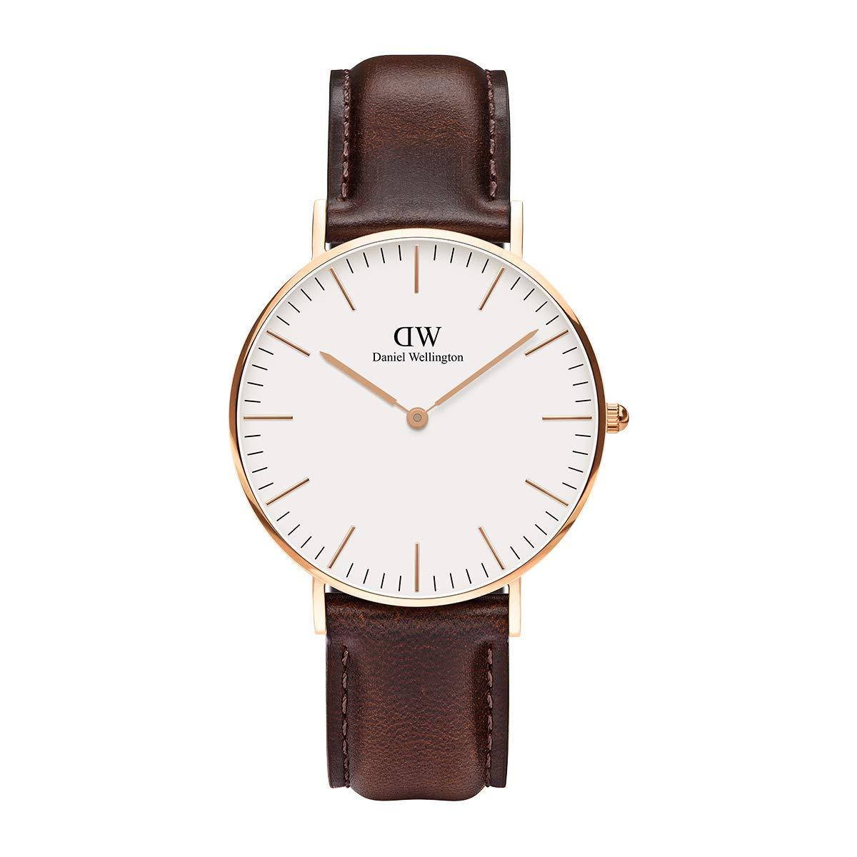 Daniel Wellington Trenduhren  Classic Bristol, Dunkelbraun/Roségold Uhr, 36mm, Leder, für Damen und Herren