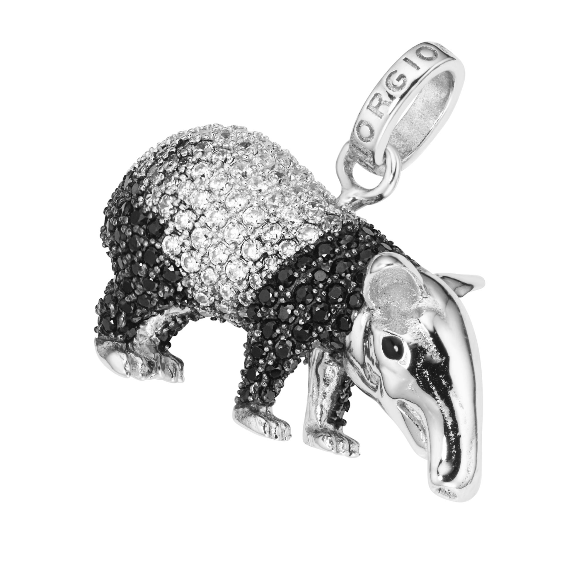 Tapir mit Zirkonia und schwarzem Spinell, Silber 925