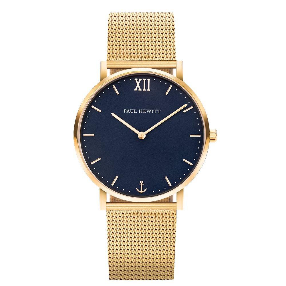 Armbanduhr Edelstahl Sailor Line Blue Lagoon (Damen und Herren) - Uhr mit Edelstahlarmband (Gold), Goldene Armbanduhr, blaues Ziffernblatt