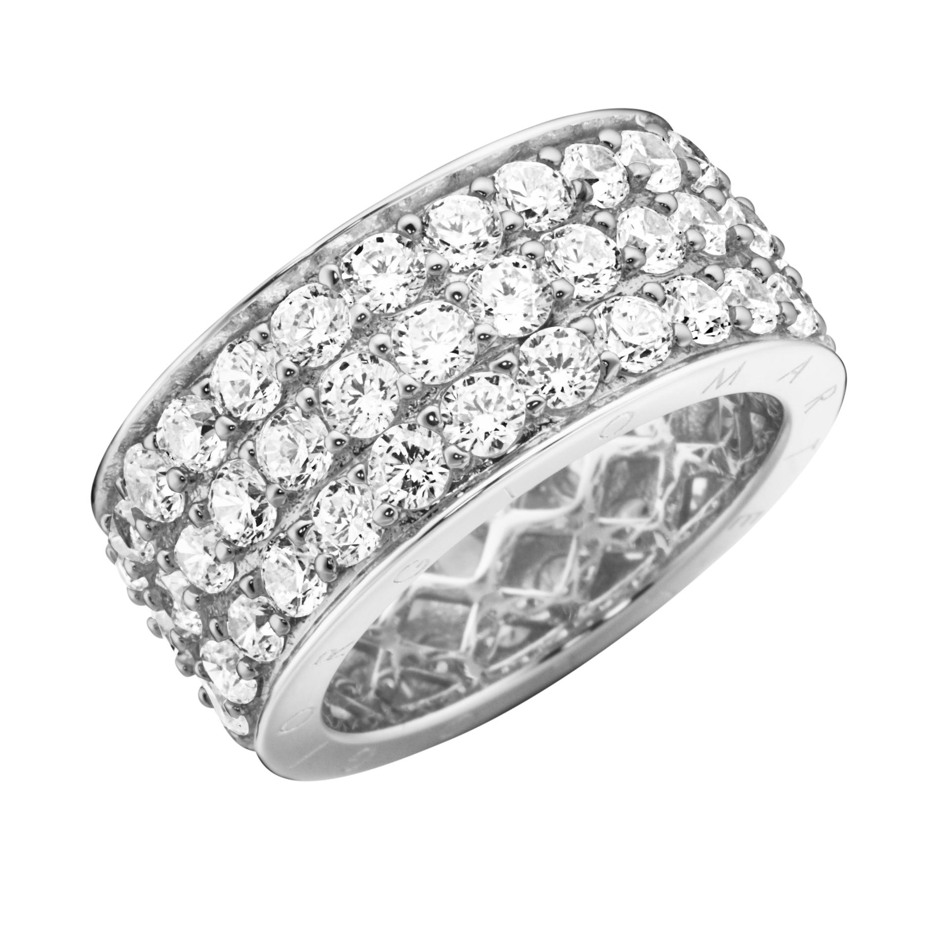 Memoire-Ring, 3-reihig, mit Zirkonia