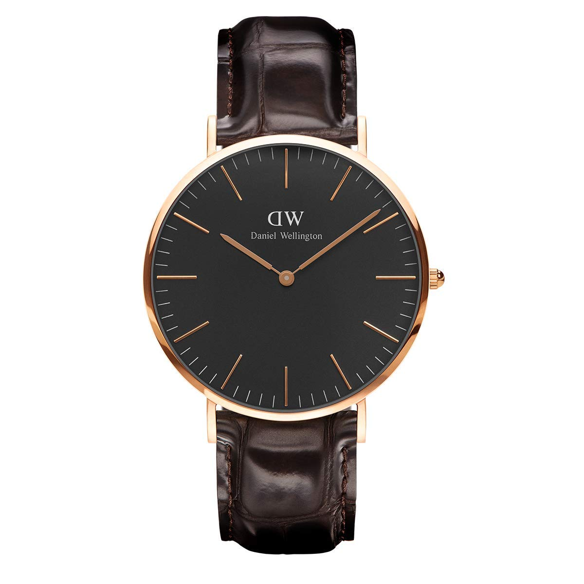 Classic York, Dunkelbraun/Roségold Uhr, 40mm, Leder, für Herren