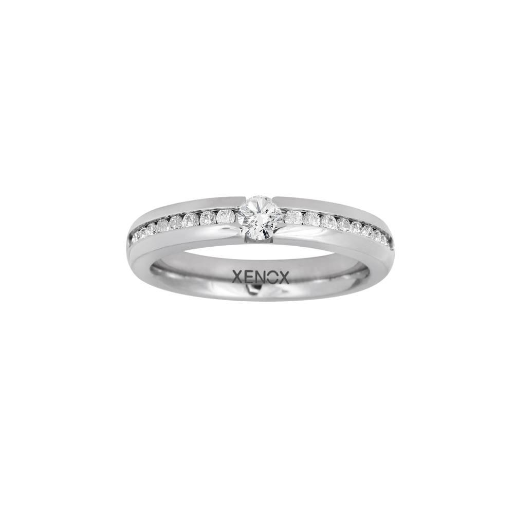 Damen-Ring, Weite: 48 mit Zirkonia, Stahl, XENOX & friends X5010