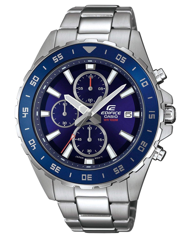 Herren Analog Quarz Uhr mit Edelstahl Armband EFR-568D-2AVUEF