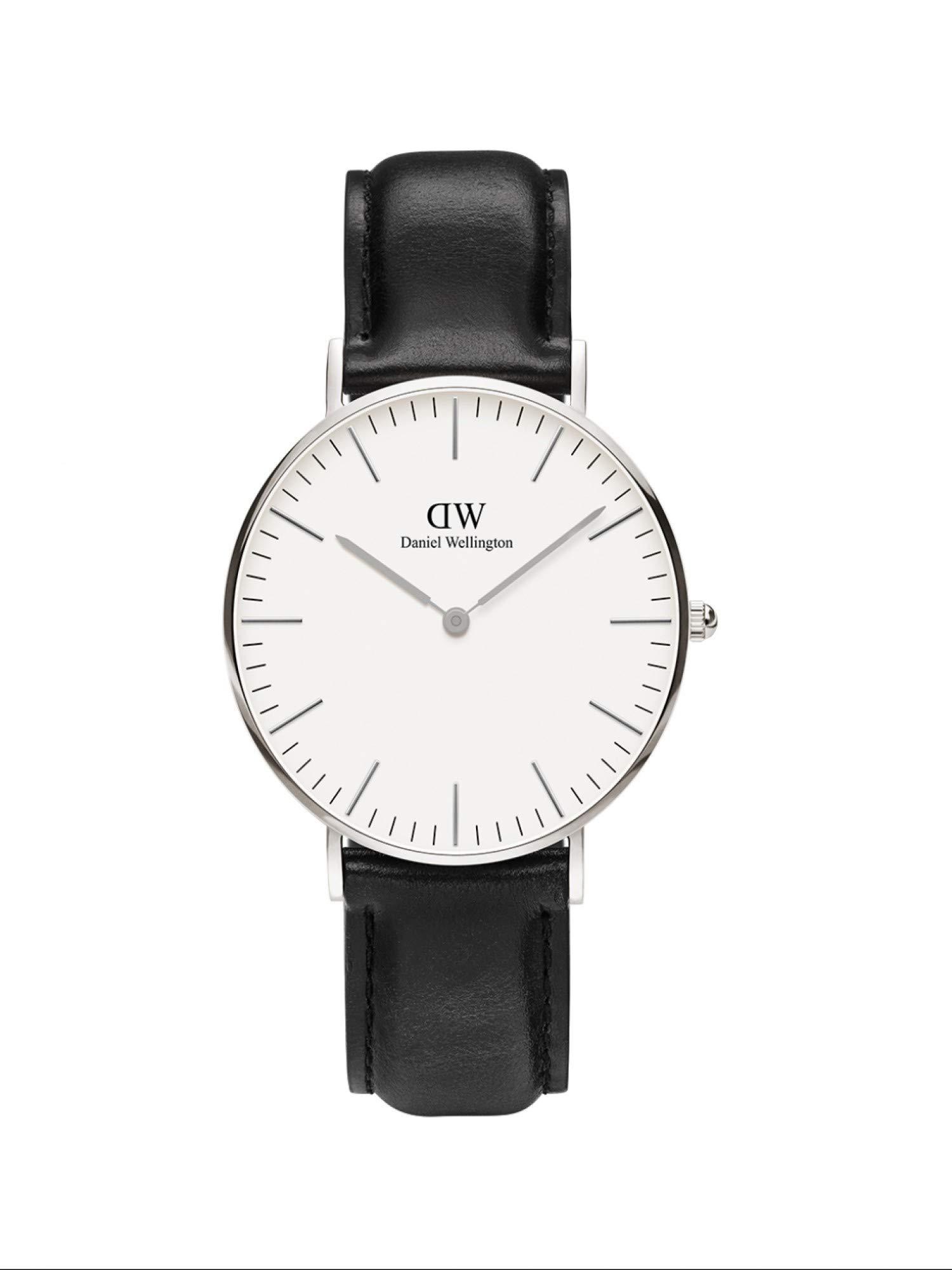 Daniel Wellington Trenduhren  Classic Sheffield, Schwarz/Silber Uhr, 36mm, Leder, für Damen und Herren