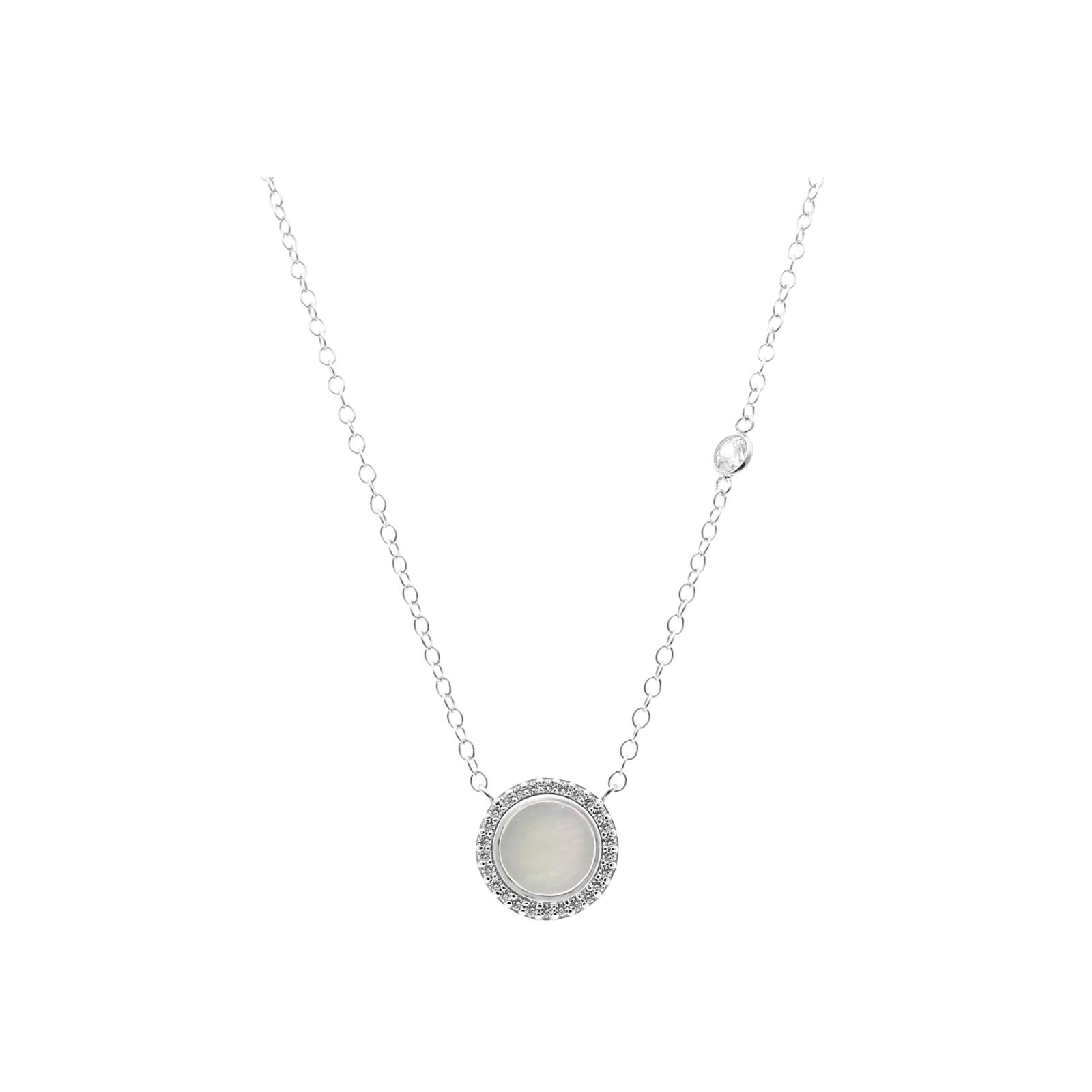 Perlmutteinlage und Zirkonia Steine, Silber 925