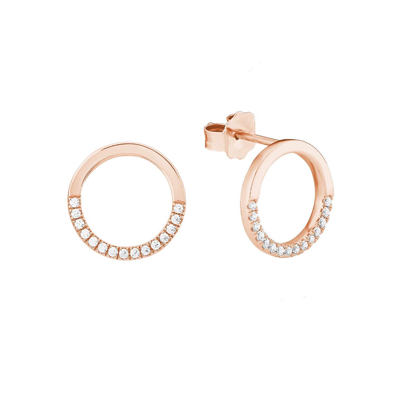 Ohrstecker für Damen aus rosevergoldetem Silber 925 mit Zirkoniasteinen