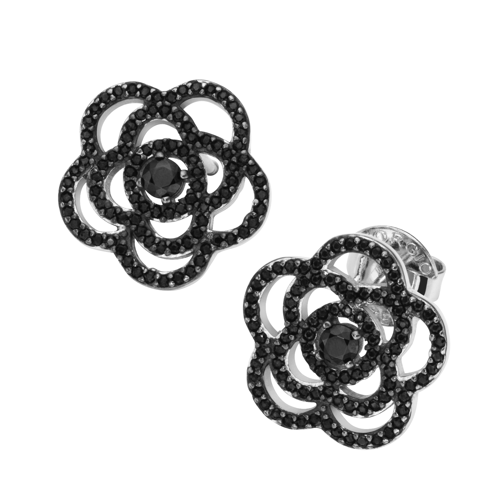 Blüte mit schwarzen Zirkonia, Silber 925