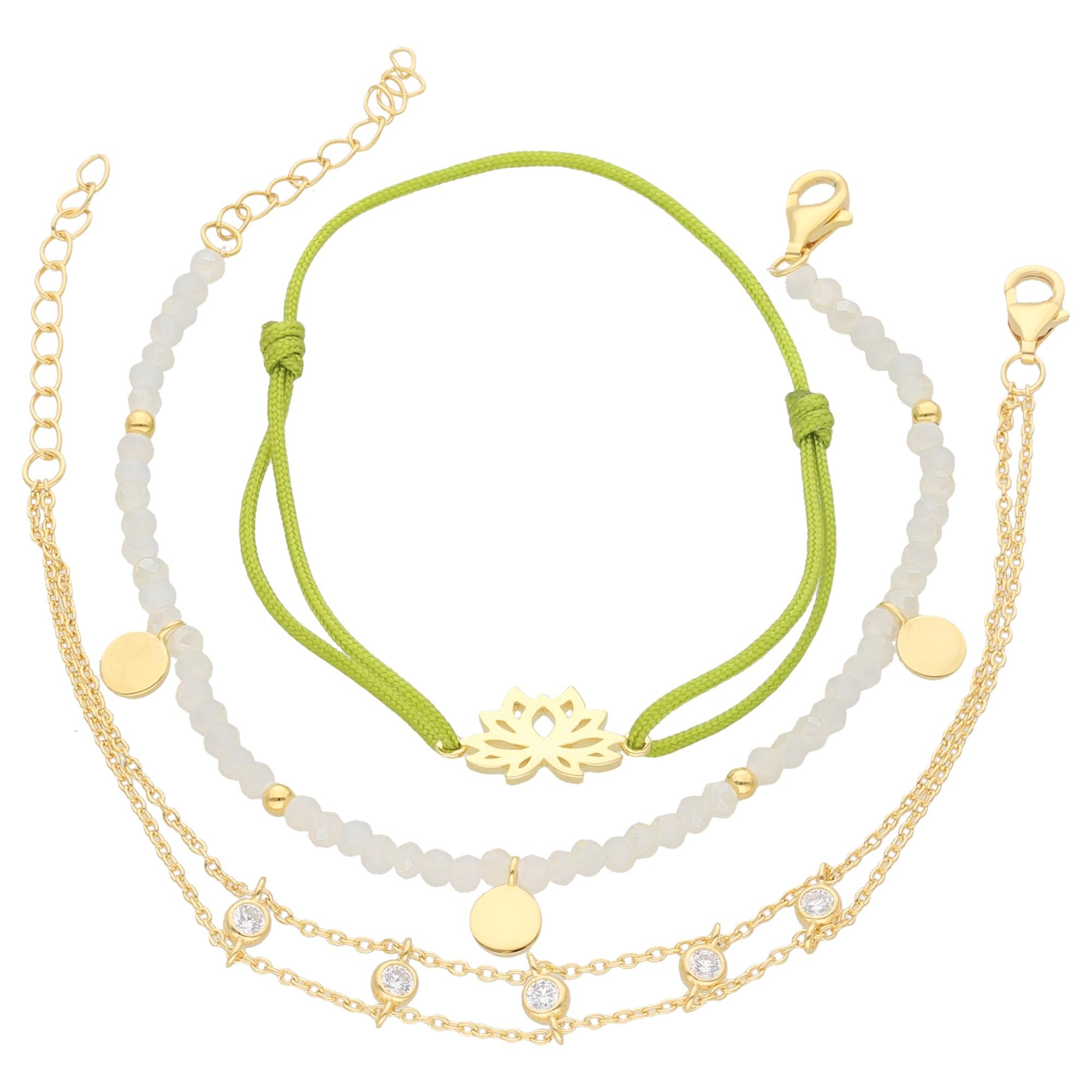 Armbänder 3-teilig, Kristallsteine und Zirkonia, Silber 925