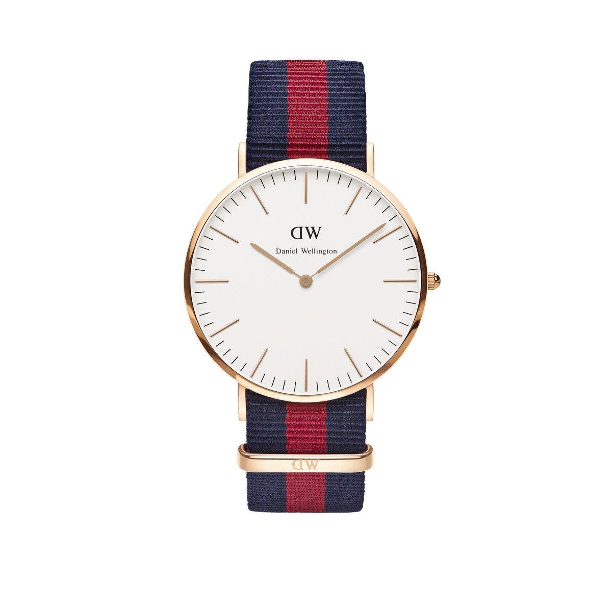 Daniel Wellington Trenduhren  Herren-Armbanduhr Analog Quarz One Size, weiß, blau/rot