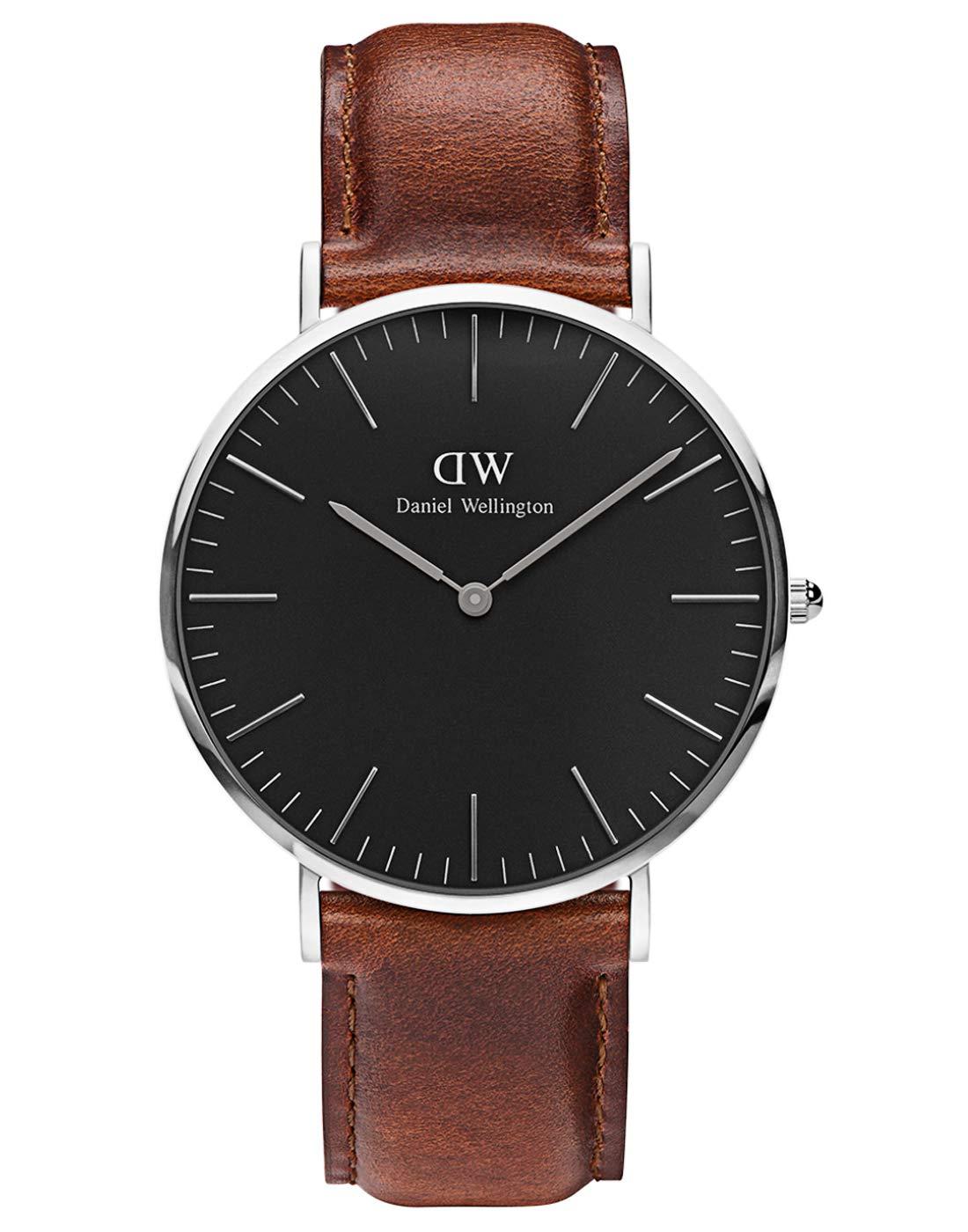 Classic St Mawes, Braune/Silber Uhr, 40mm, Leder, für Herren