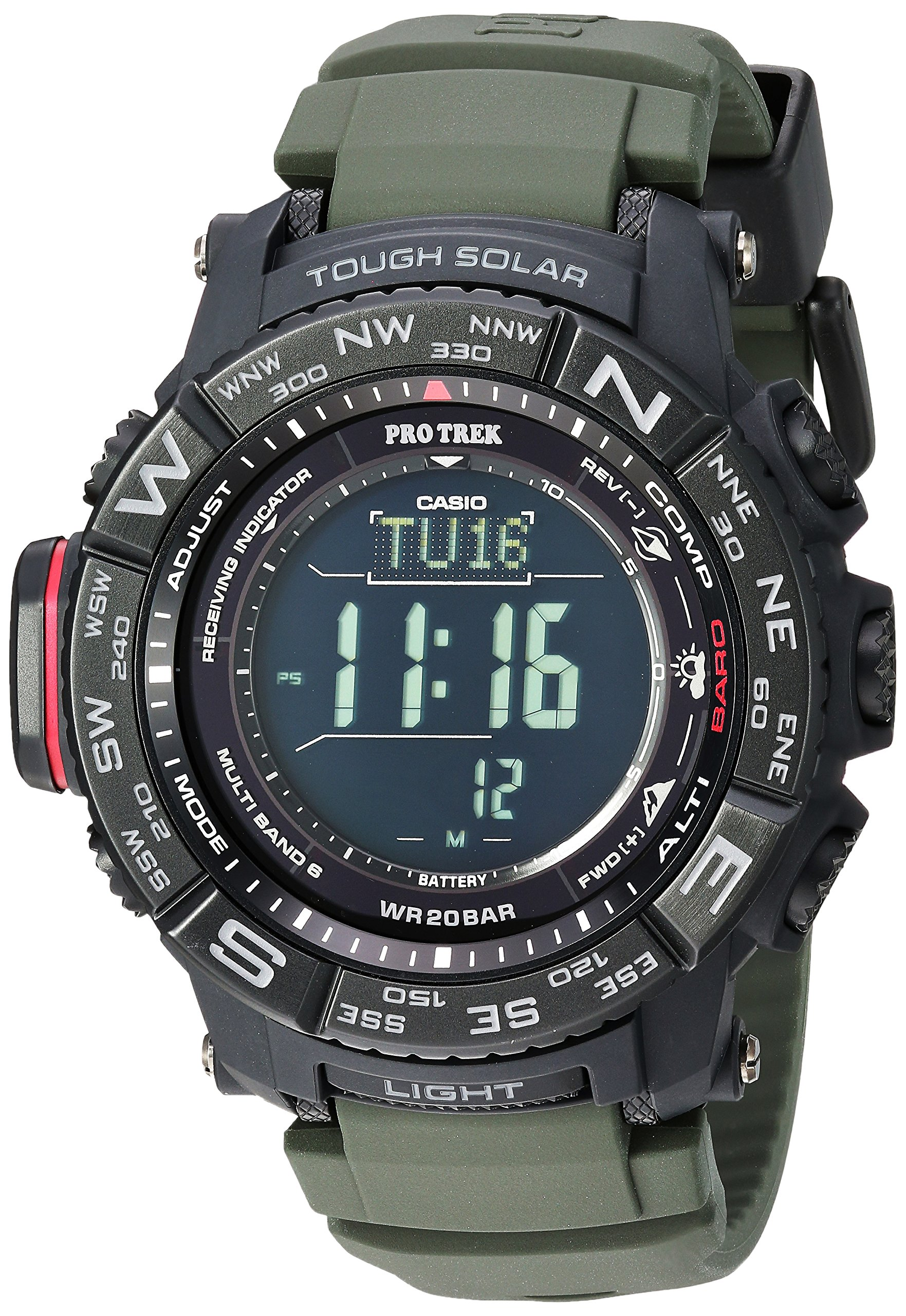 Men's 'PRO TREK' Tough Solar Powered and Stainless Steel Watch, Color:Green (Model: PRW-3510Y-8CR)