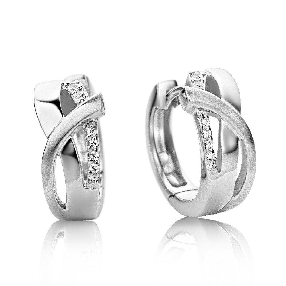 Damen Creolen – Formvollendete Ring-Ohrringe aus 925 Sterling Silber mit 14 farblosen Zirkonia-Steinen – Ohrschmuck 6,5 x 16 mm