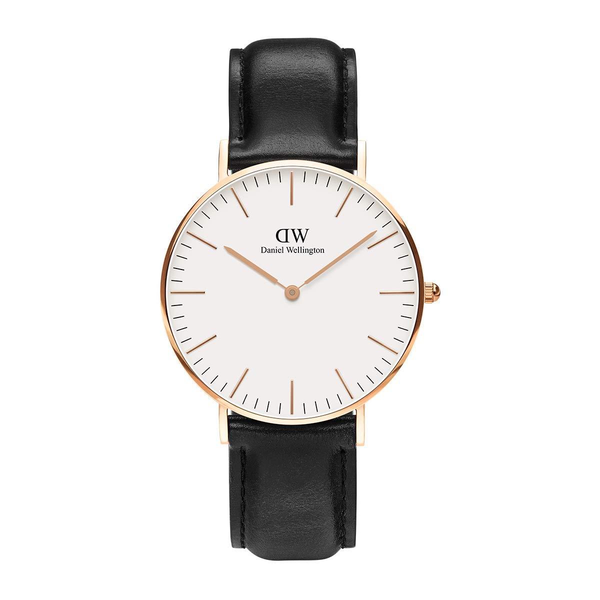 Daniel Wellington Trenduhren  Classic Sheffield, Schwarz/Roségold Uhr, 36mm, Leder, für Damen und Herren
