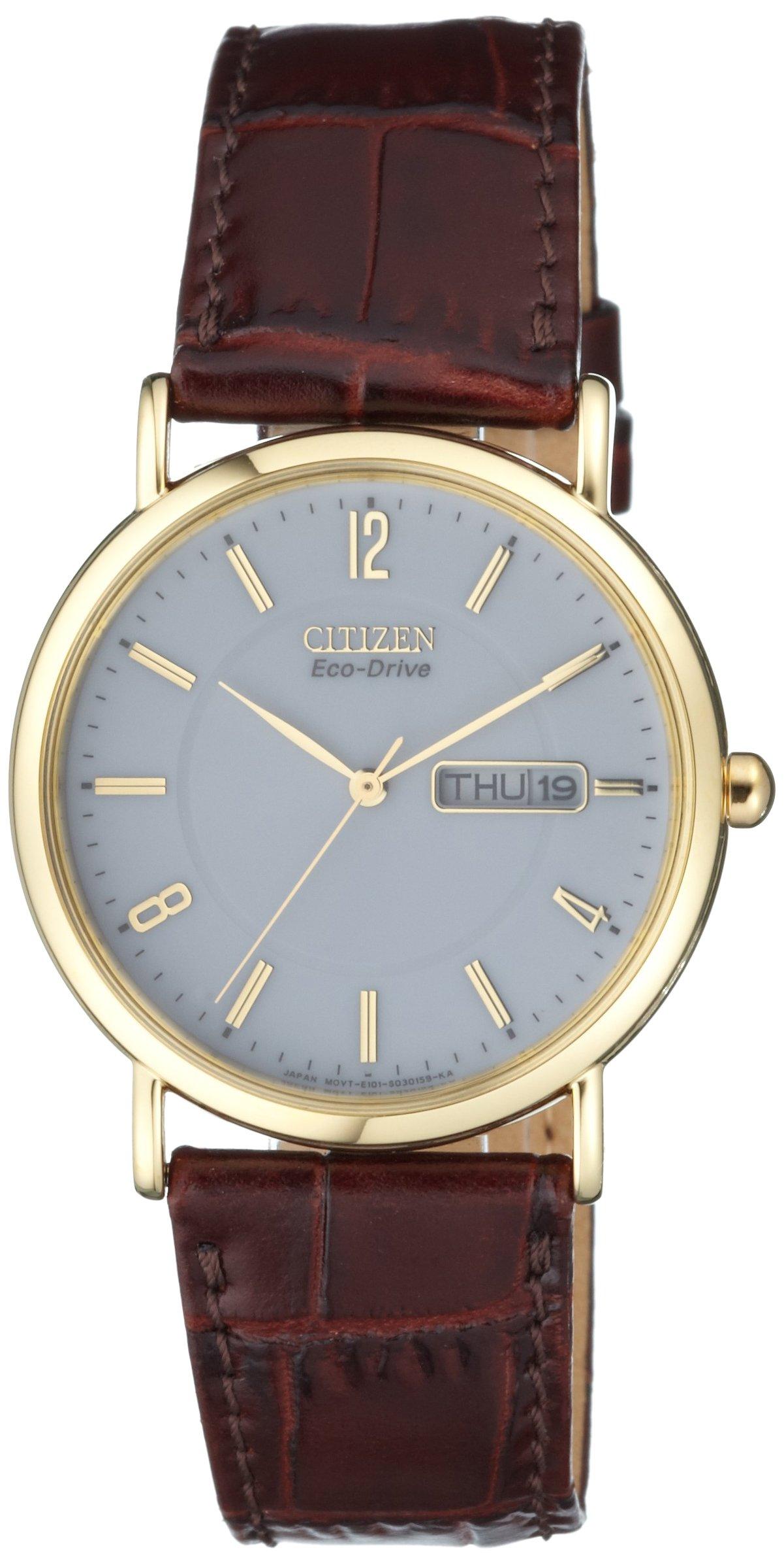 Herren Analog Quarz Uhr mit Leder Armband BM8243-05AE