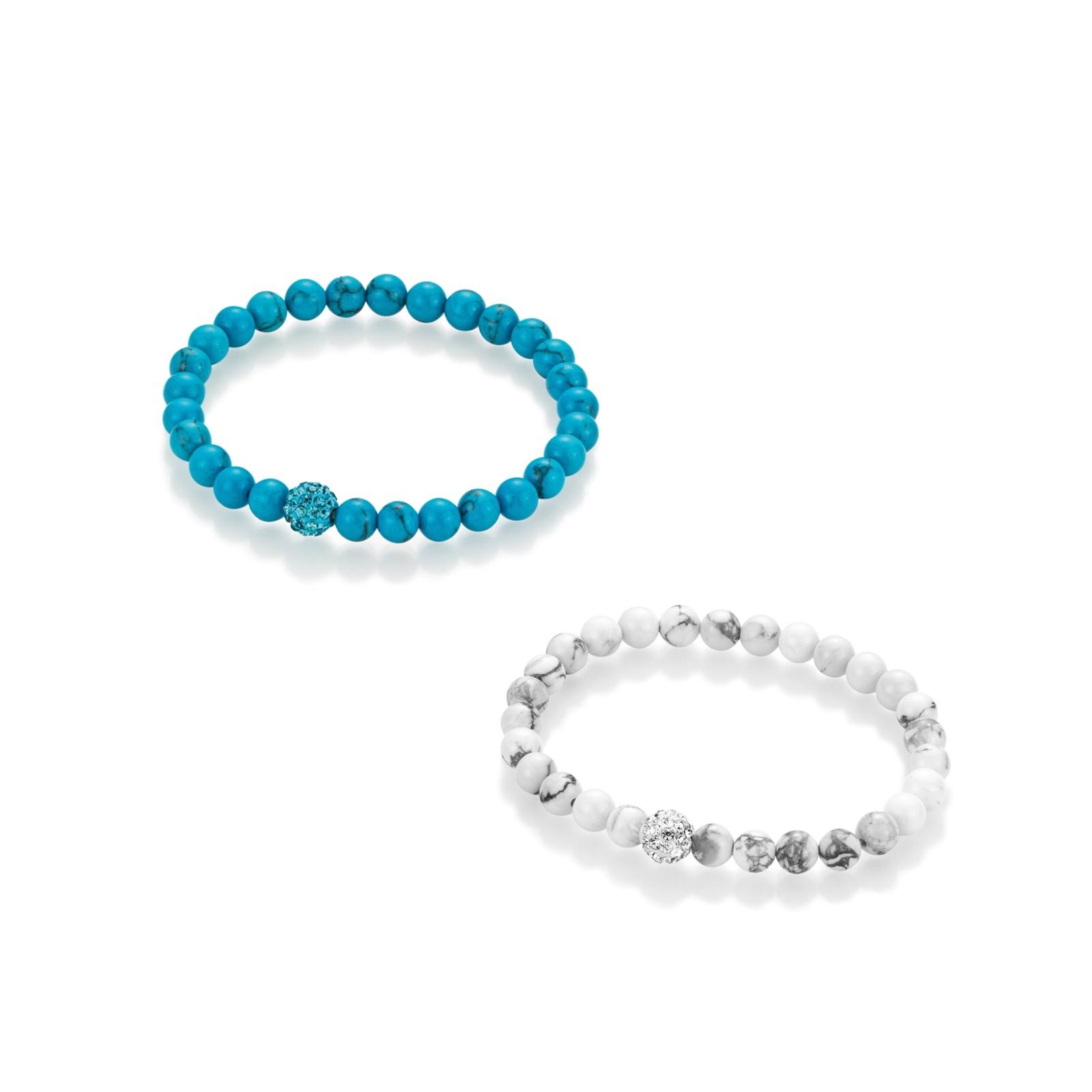 Armbänder Howlith und imit. Türkiskugeln, Kristallsteine