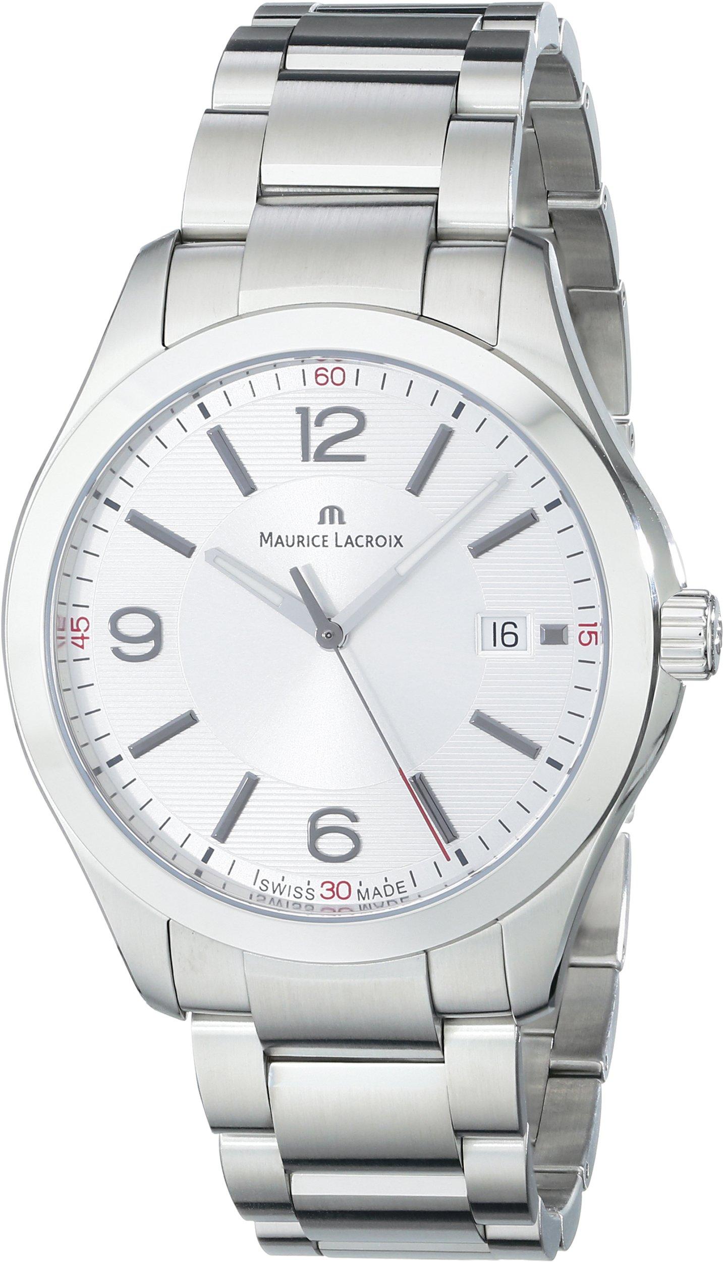 Maurice Lacroix Automatikuhren  Herren-Armbanduhr XL Miros Analog Quarz Edelstahl MI1018-SS002-130