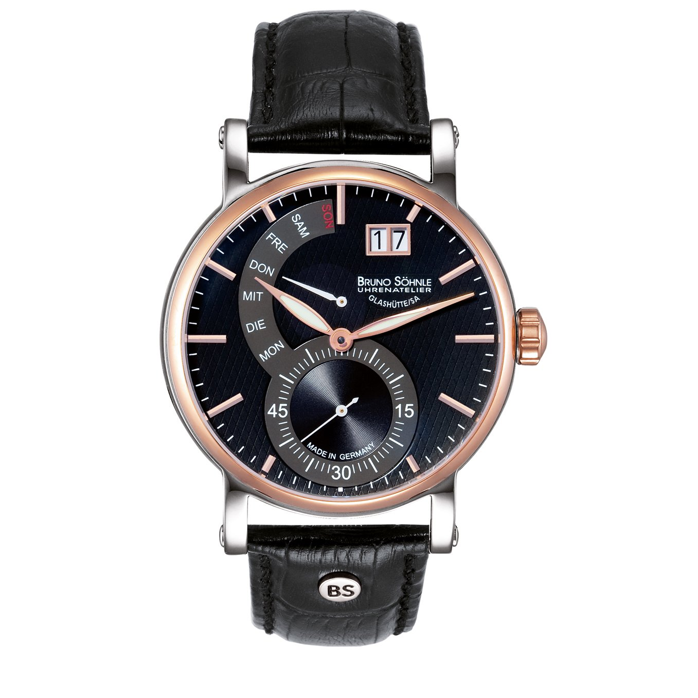 Herren Analog Quarz Uhr mit Leder Armband 17-63073-747
