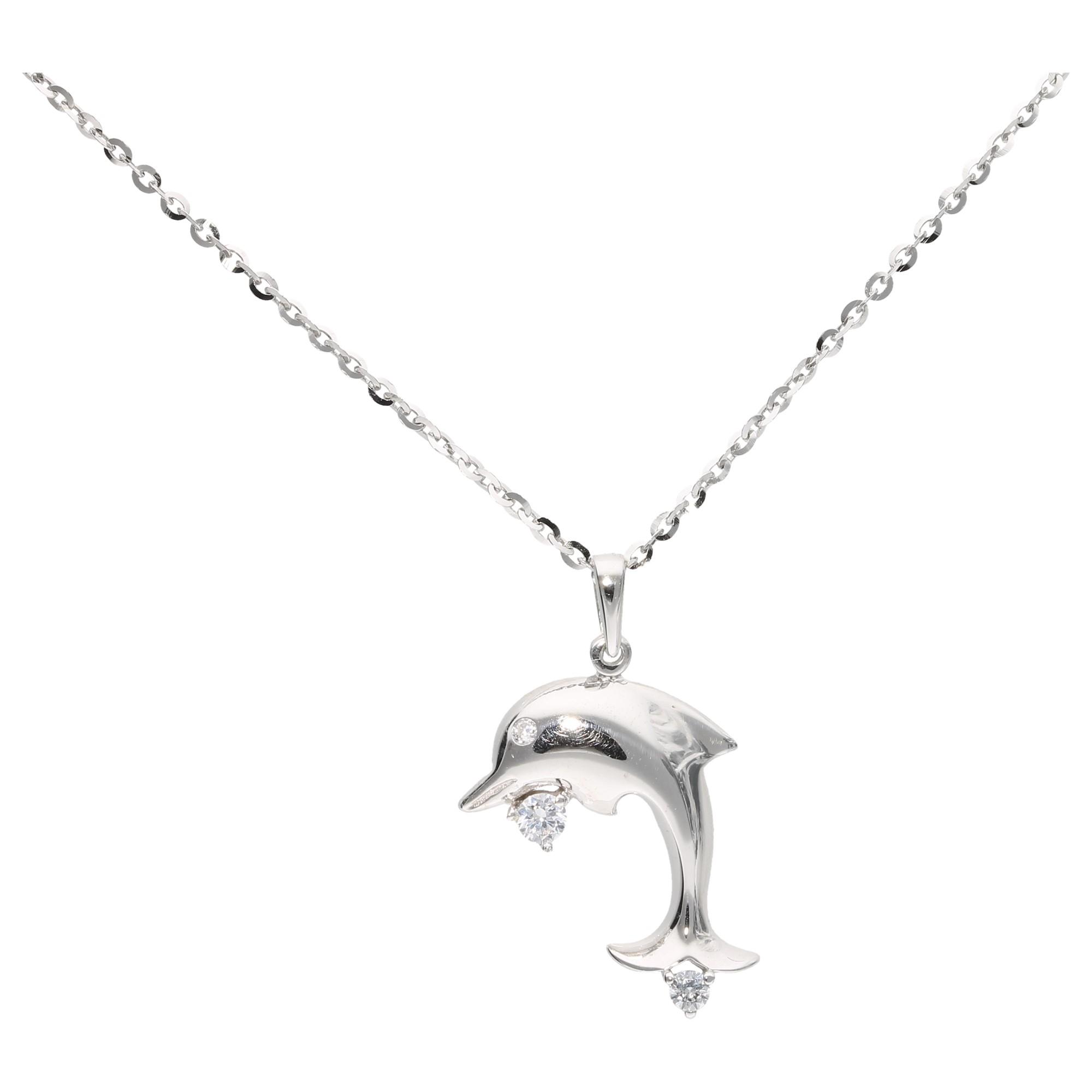 Anhänger Delfin mit Zirkonia, Silber 925