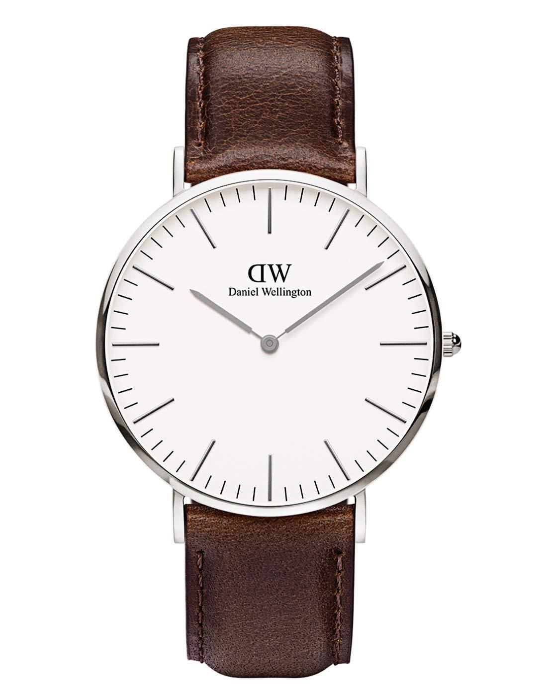 Daniel Wellington Trenduhren  Classic Bristol, Dunkelbraun/Silber Uhr, 40mm, Leder, für Herren