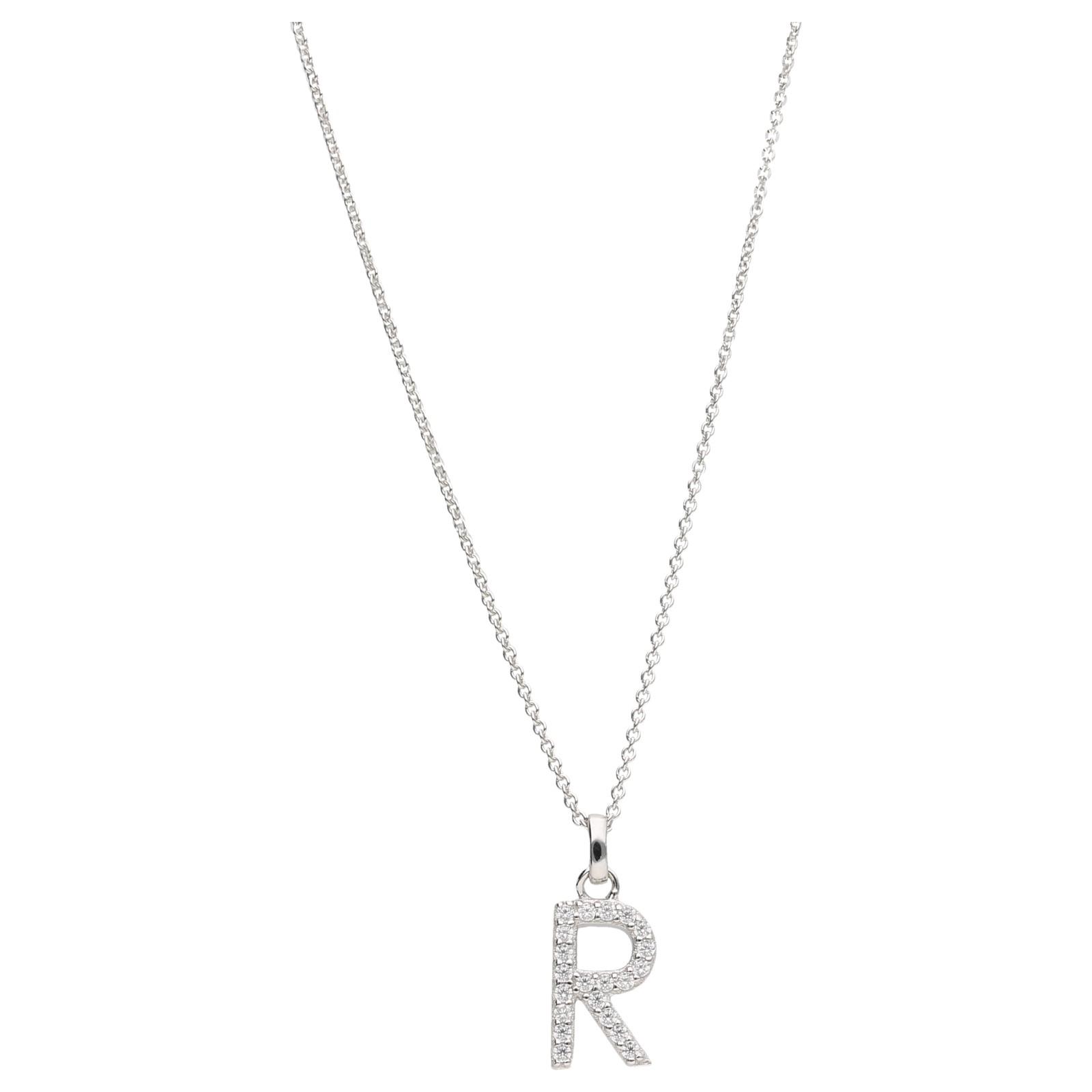 Buchstabe R mit Zirkonia Steine, Silber 925