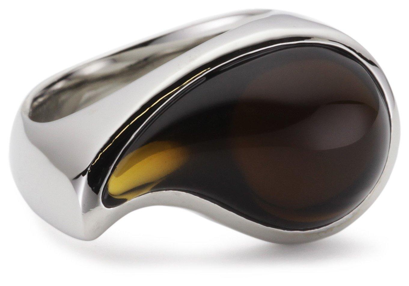 Damen-Ring Edelstahl rhodiniert Glas Glaskristall drip drop braun