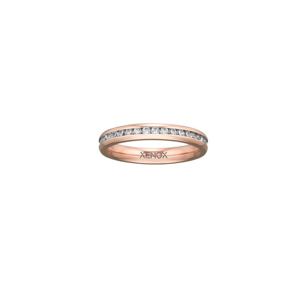 Damen-Ring, Weite: 52 mit Zirkonia, Stahl, XENOX & friends X2302