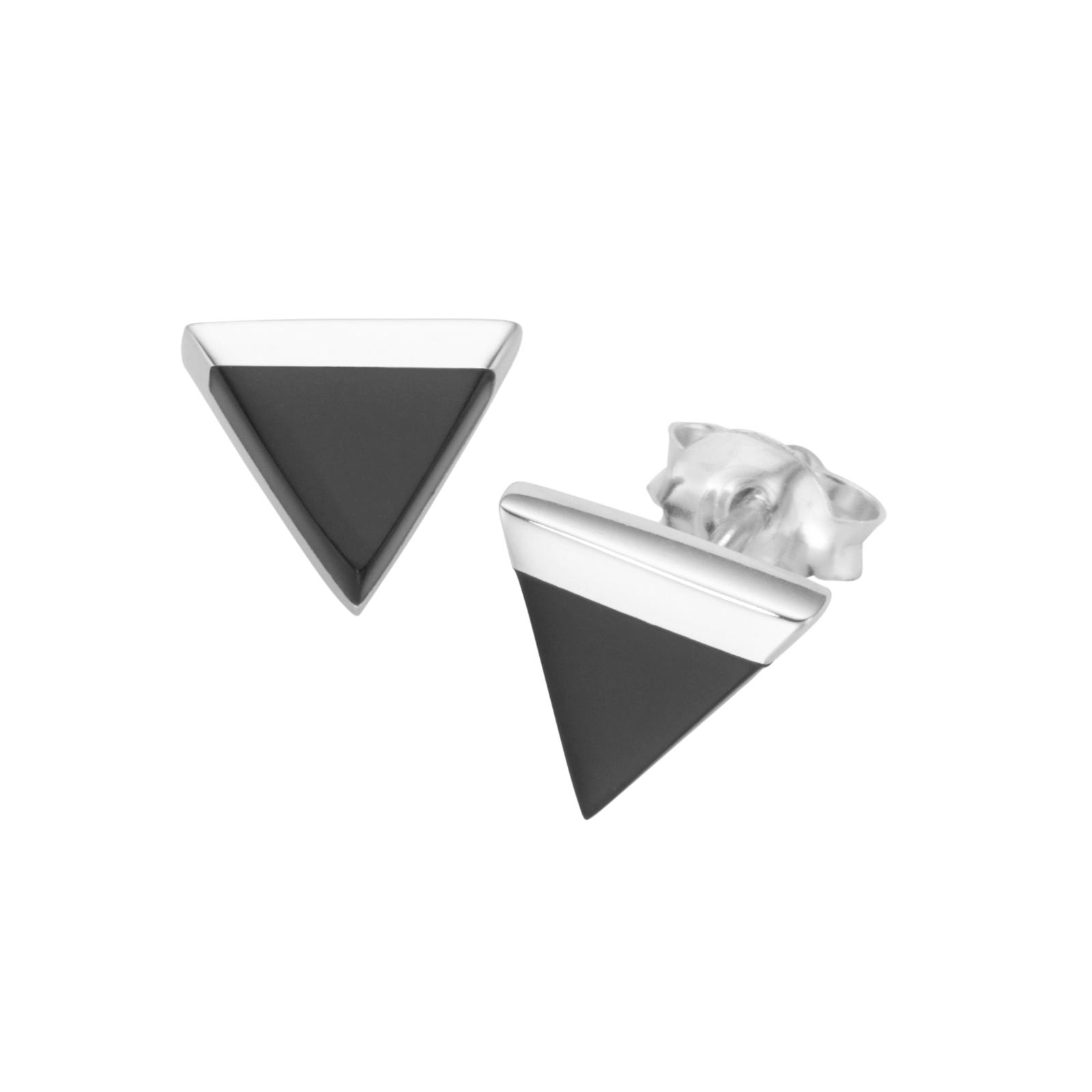 Dreieck, schwarzer Achat, Silber 925