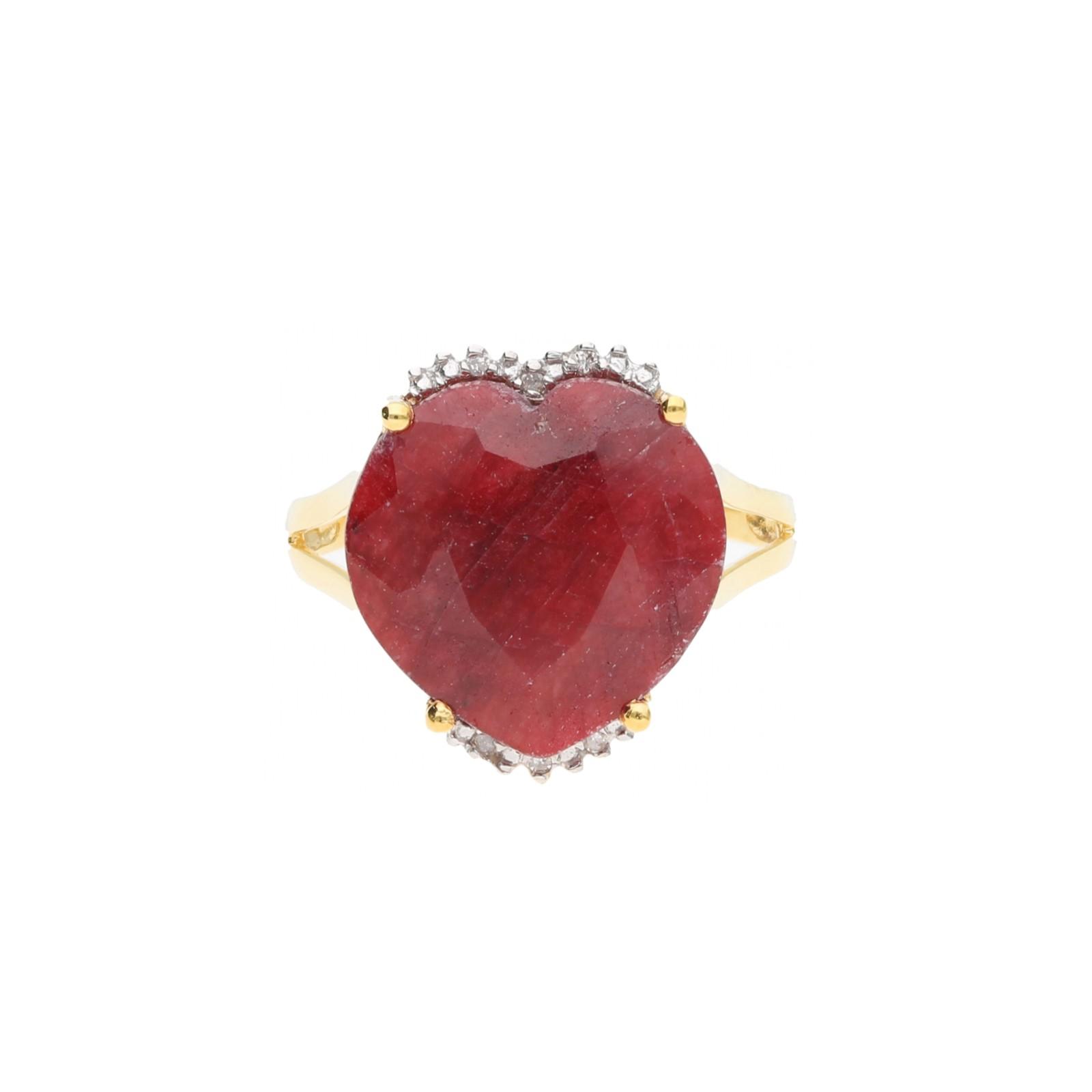 Rubin in Herzform und Diamanten, Gold 585