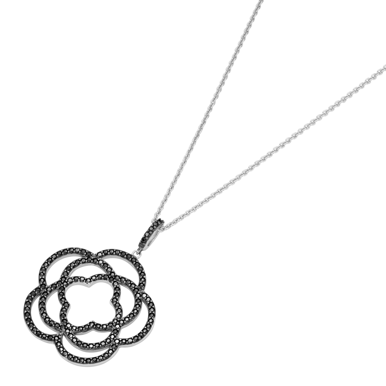 Anhänger Blüte mit schwarzen Zirkonia, Silber 925
