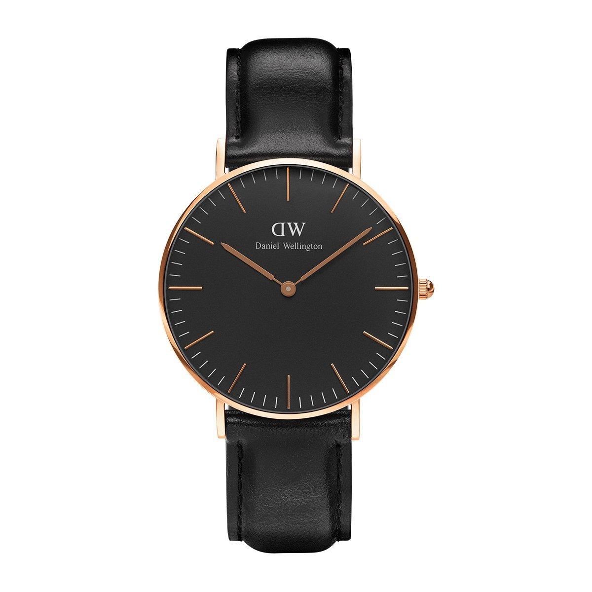 Classic Sheffield, Schwarz/Roségold Uhr, 36mm, Leder, für Damen und Herren