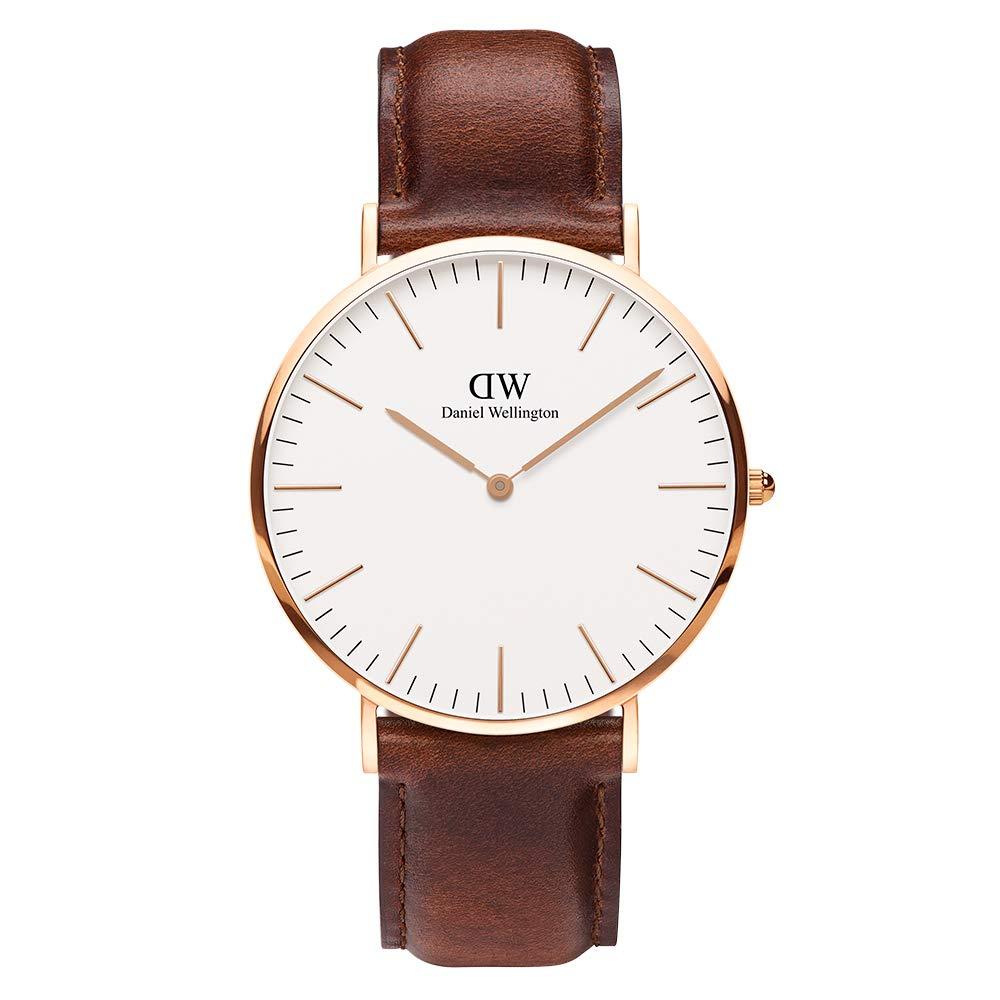 Daniel Wellington Trenduhren  Classic St Mawes, Braun/Roségold Uhr, 40mm, Leder, für Herren