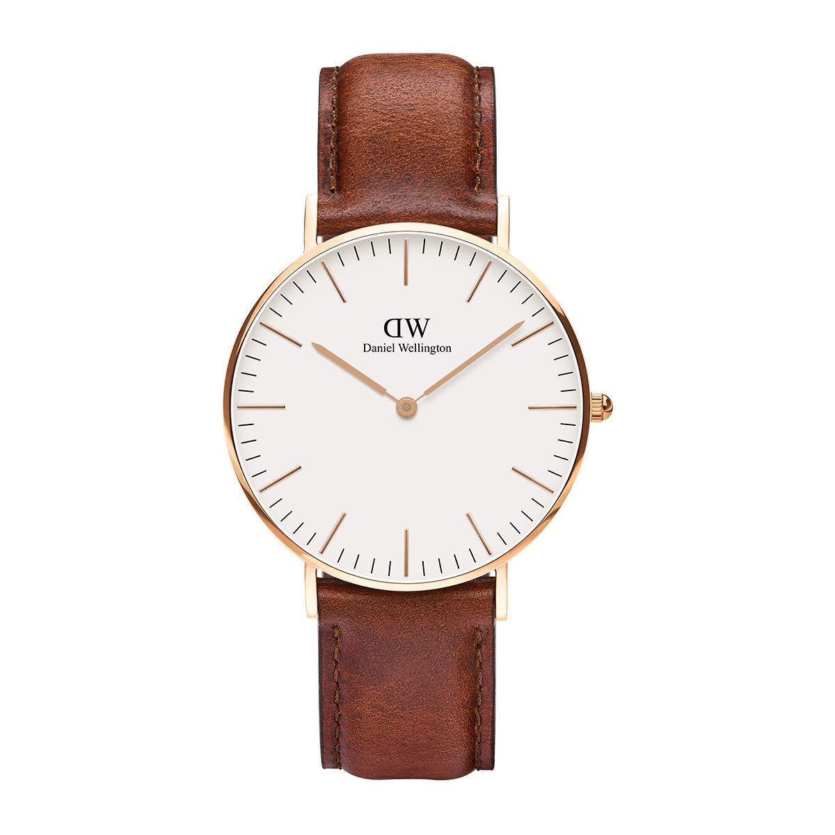 Daniel Wellington Trenduhren  Classic St Mawes, Braun/Roségold Uhr, 36mm, Leder, für Damen und Herren